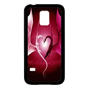 Aestheticism The Heart-shaped Loong Black Stylish Cover Case For Samsung GALAXY S5 with high-quality Plastic