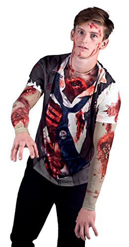 Zombie Costume Men (Faux Real Men's Zombie with Mesh Sleeve, Multi, Large)