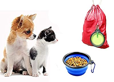 Collapsible Dog Bowl, Ponanic Food Grade, FDA Approved, Portable Pets Pop-up Feeder, Foldable Bowls with Carabiner Clip