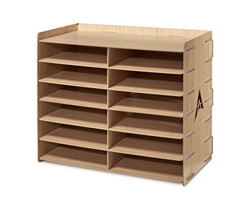- AdirOffice Wood Literature Organizer Sorter - Heavy Duty File Storage - Ideal for Home, Office & School Use (12 Compartment, Wood Grain)