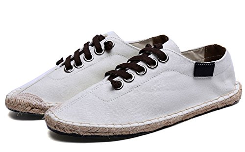 Plaid & Plain Unisex Para Mujer Para Mujer Solid Lace Up Espadrille Flats Canvas Sneakers Plimsolls Blanco