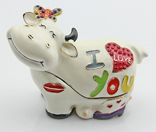 Enameled Crystal Cow Trinket Jewelry Box Lovely Cow Animal Party Gift (I Love You)