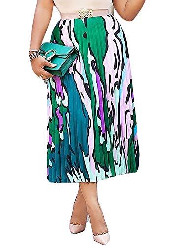 (Women's Vintage Graffiti Cartoon Printed A-line Pleated Swing Midi Skirts Green Print)