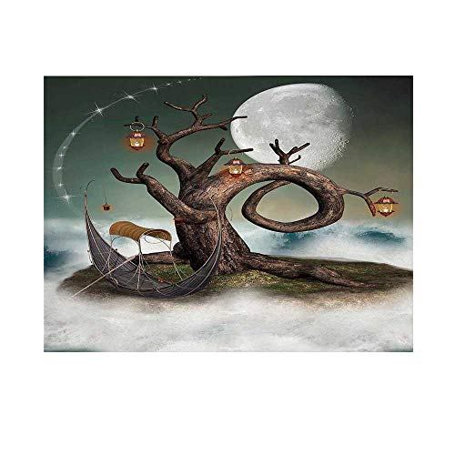 Fantasy Photography Background,Surreal Leafless Tree with Lanterns and Full Moon on Magic Cloud Hill Backdrop for - Latex Hill