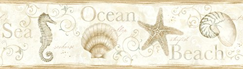 Chesapeake DLR53563B Island Bay Beige Seashells Wallpaper Border
