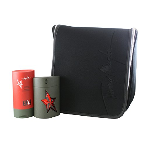 Angel B Men 3 Piece Set Includes 1.7 Oz Eau De Toilette Spray & 3.5 Oz Hair And Body Shampoo + Deluxe Weekender Toiletry Bag Thierry Mugler ANG52-P