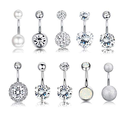 Yadoca 10 Pcs 14G Stainless Steel Belly Button Rings Women Girls Curved Navel Barbell Body Jewelry Piercing CZ Inlaid
