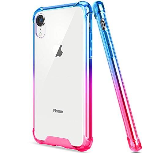 SALAWAT Compatible iPhone Xr Case, Clear iPhone Xr Case Cute Anti Scratch Slim Phone Case Cover Reinforced Corners TPU Bumper Shockproof Protective Case for iPhone Xr 6.1inch 2018 (Blue Pink)