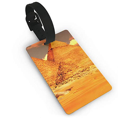 Luggage Tags With Genuine Hand Strap Yellow Gold Egyptian Pyramids Travel Suitcase Bag Tag Identify Label