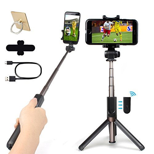 Selfie Stick, Bluetooth Monopod with Integrated Tripod Stand and Rechargeable Bluetooth Remote Control, Adjustable Extendable Aluminum Alloy, Vertical & Horizontal Phone Holder for iPhone, Android by SUDO