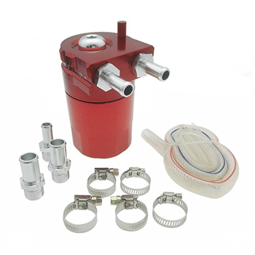 Heinmo Aluminum Alloy Universal Cylinder Car Oil Catch Can Reservoir Tank with Breather Kit Red