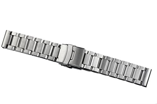 20mm Men's Robust High-end Brushed Solid 316L Stainess Steel Wristwatch Bracelets Inox Metal Straps Heavy Type