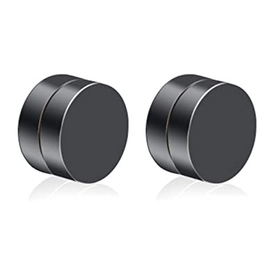 42b9a56e2e9bb Amazon.com: Stainless Steel Round Magnetic Earrings for Men Women No ...