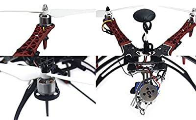 QWinOut Assembled Six Rotor RTF Full Set DIY 2.4G 9Ch F550 Air Frame Hexacopter Combo Drone APM 2.8 Flight Controller GPS Compass (Without Manual) by QWinOut