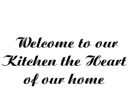 kitchen sayings heart of our home vinyl car decal white - Kitchen Sayings