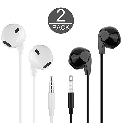 Wired Earbuds with Remote and Mic, Headphones with Microphone Stereo Earphones for iPhone, Plus, iPad, Smart phones, Android Galaxy (White X1/Black X1)
