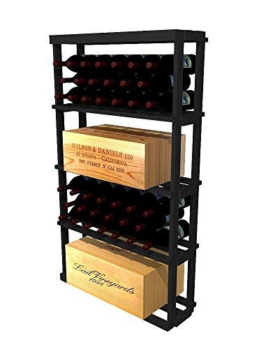 WineMaker Series Wine Rack - 1 Column Rectangular Bin - 4 Ft - Premium Redwood Midnight Black Stain