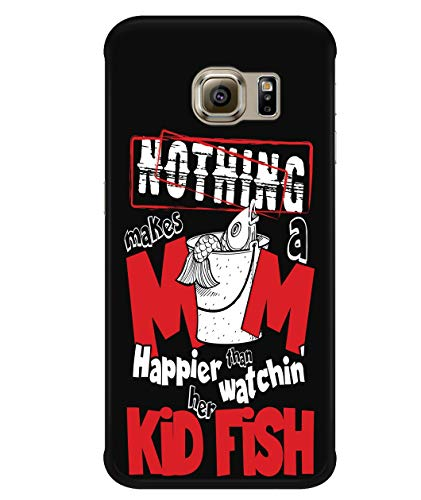 Design for Samsung Galaxy S6 Edge Case, Love Fishing Samsung Case, Makes A Mom Happies Galaxy S6 Edge Case (Samsung Galaxy S6 Edge Case - Black) ()