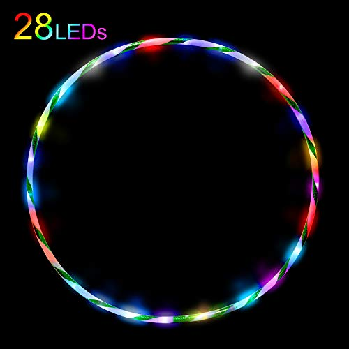 DASINKO LED Hula Hoop Dance Exercise Light Up Hoola Hoop for Kids Adults Teens Fitness Weight Loss 28 Color Strobing Changing Multiple Led Glow Lights 90cm 36 in Hula Hoops(Battery is not Included)
