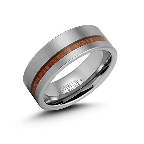 LerchPhi Mens 8mm Silver Tungsten Carbide Ring Outside Matte Brushed with Wooden Texture Inlay Free Personalized Engrave Supported Comfort Fit Wedding ()