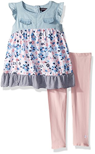 Cotton Legging Set Floral (Limited Too Girls' Little Fashion Top and Legging Set, Floral poplin with Ruffle Trim Multi Print, 6)