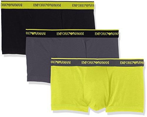 Emporio Armani Men's Stretch Cotton 3 Pack Trunk, Black/Anthracite/Lemon, - Armani Summer