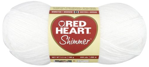 Red Heart  Shimmer Yarn, Solid, Snow by Red Heart