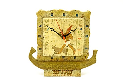 CAPRILO Reloj Decorativo Sobremesa Barco Egipcio Resina. 22 x 5 x 22 cm.