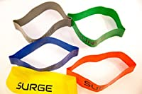 Surge Forward Resistance Loop Bands - (LIMITED TIME 50% OFF) Set of 5 Multiple Color Workout Bands With Carry Bag Best for Yoga Stretching Physical Therapy Crossfit and Home Fitness