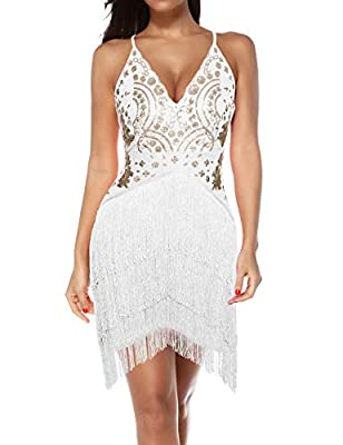 houstil Women's Spaghetti Strap Tassels Inspired Sequin Embellished Fringed Prom Party Dress