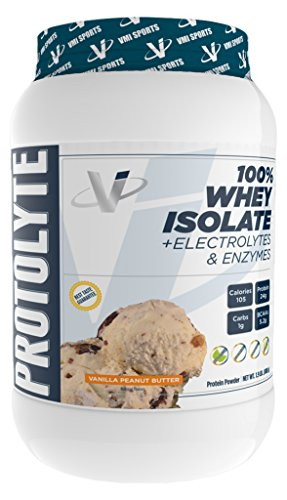 VMI Sports ProtoLyte 100% Protein Powder, Vanilla Peanut Butter, 1.6 lb, Pure Whey Isolate Protein Shake Powder, with Amino Acids, Electrolytes, Enzymes, High Protein to Calorie Ratio, Sugar ()