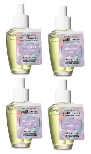 (Bath and Body Works 4 Pack Rainforest Gardenia Wallflowers Fragrance Refill. 0.8 fl oz.)