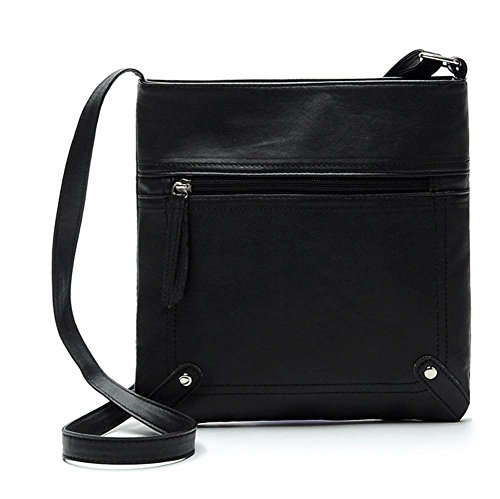 Ecokaki(TM) Women's PU Leather Fashion Handbag Shoulder Bag Functional Multi Pocket Crossbody Bag, Black by Ecokaki