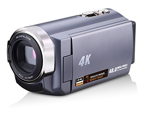 SEREE Camcorder 4K 48MP WIFI Control Digitial Camera 3.0'' Touch Screen Night Vision Video Camcorder with Pause Function