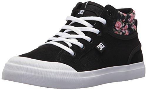 DC Girls' Youth Evan Hi Skate Shoe, Black/Print, 5 M US Big (Hi Cap Print)
