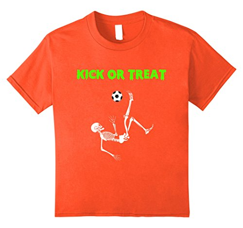 Soccer Player Halloween Costume For Girls (Kids Kick Or Treat Skeleton Soccer Football Halloween Costume Tee 12 Orange)