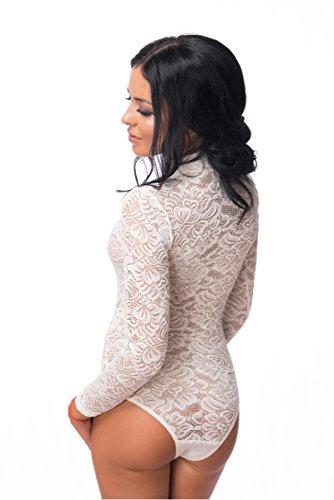 evoni Mujer Body | Body Suit con Mitad Cuello Para Mujeres, Body en diferentes colores con cierre en el paso de manga larga, ropa interior transparente con puntas de aplicación & Stretch Función Beige