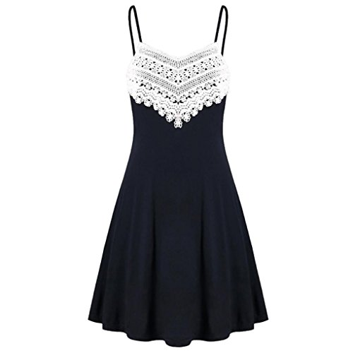Fitted Slip Dot Polka (iTLOTL Fashion Womens Crochet Lace Backless Mini Slip Dress Camisole Sleeveless Dress)