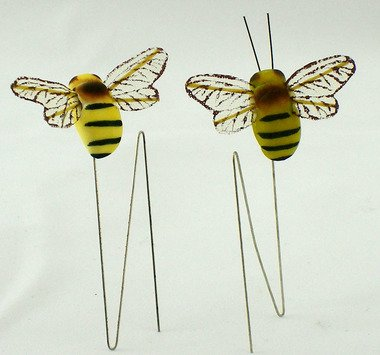 Package of 12 Artificial Mushroom Bumblebees with Attached Wire for Embellishing and (Bee Mushroom)