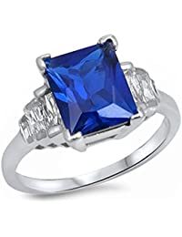 4Ct Elegant Simulated Emerald Cut Blue Simulated Sapphire & Cz .925 Sterling Silver Ring Sizes 5-10 SRC16624