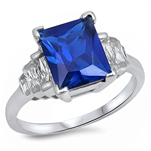 4Ct Elegant Simulated Emerald Cut Blue Simulated Sapphire & Cz .925 Sterling Silver Ring Size 7 -