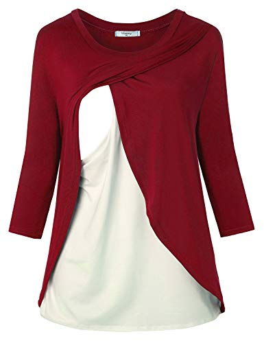 Viracy Maternity Tops, Womens Nursing Blouses 3/4 Sleeve Breastfeeding Tunic Shirts for Ladies Classic Relaxed Fit Round Neck Ultra Soft Double Layered Pregnant Clothes Wine Red L by Viracy