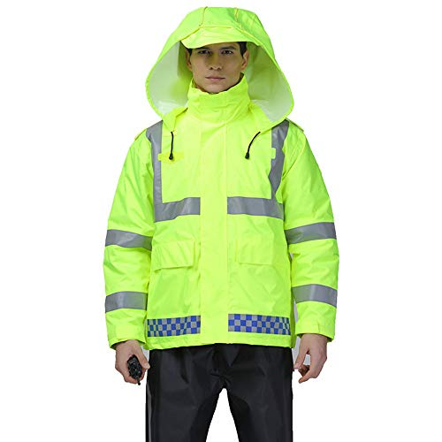 GSHWJS- trash can Reflective Cotton Jacket Winter Traffic Duty Warning Safety Jacket Detachable Cotton Suit, Green Reflective Vests (Size : S) by GSHWJS- trash can (Image #9)
