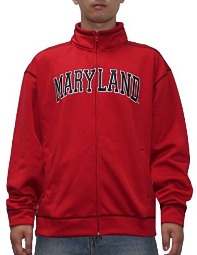 Heavy Track Jacket - Ncaa Maryland Terrapins Mens Zip-up Athletic Heavy Weight Track Jacket Medium Red