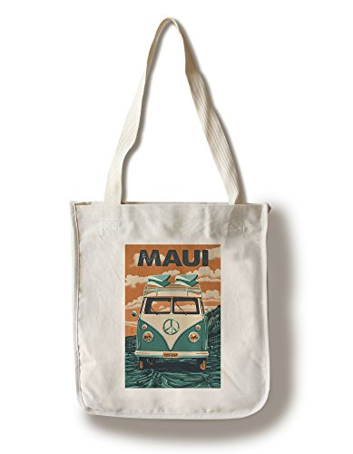 Maui, Hawaii - Camper Van - Letterpress (100% Cotton Tote Bag - Reusable) by Lantern Press