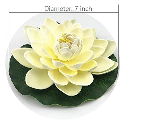 NAVAdeal-6PCS-Artificial-Floating-Foam-Lotus-Flowers-with-Water-Lily-Pad-Ornaments-Ivory-White-Perfect-for-Patio-Koi-Pond-Pool-Aquarium-Home-Garden-Wedding-Party-Special-Event-Decoration