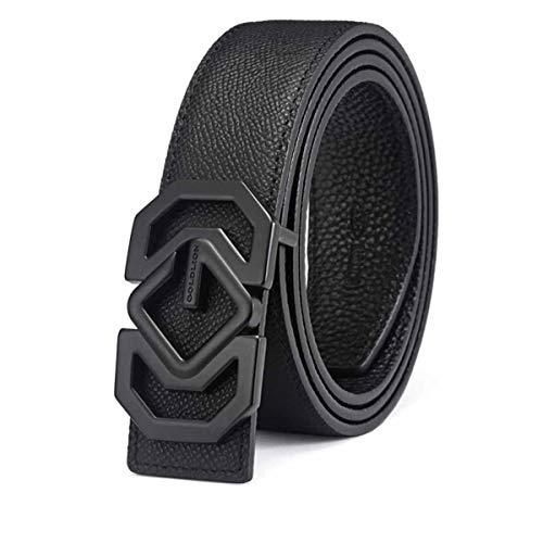 Hengtongtongxun Men's Belt, Kraft Button Belt, Smooth Buckle Belt (Size : 115-120cm)