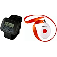 SINGCALL Wireless Calling System, Stable Signal, Long Distance to Receive, Nursing Calling, 1 Necklace Pager and 1 Watch Receiver, Home Caring Old People, Patients Children, Patrol Officers Calling