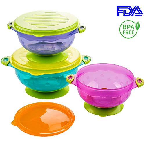 Silikong Suction Bowls for Toddlers, FDA Approved, Dishwasher and Microwave Safe. Stay Put Dishes for Kids, Babies and Infants. 3 Pack ()