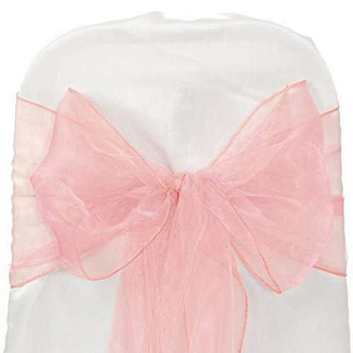 mds Pack of 100 Organza Chair sash Bow Sashes for Wedding and Events Supplies Party Decoration Chair Cover sash -Blush Pink